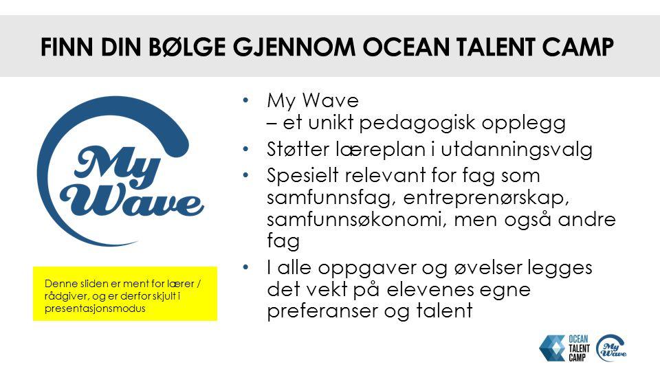 FINN DIN BØLGE GJENNOM OCEAN TALENT CAMP Denne sliden er ment for lærer / rådgiver, og er derfor skjult i presentasjonsmodus My Wave – et unikt pedago