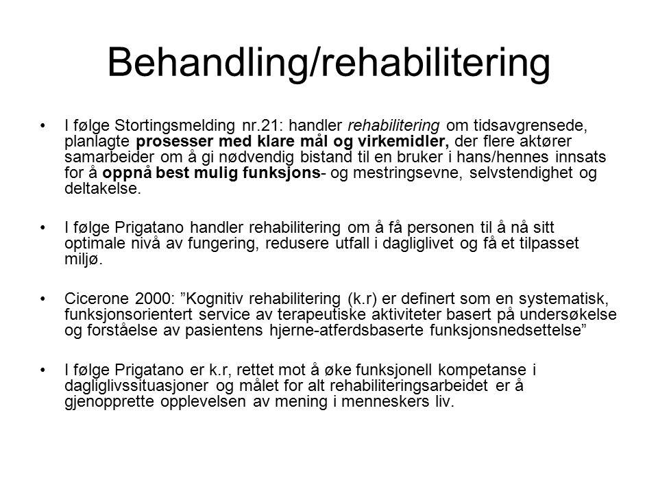 Behandling/rehabilitering I følge Stortingsmelding nr.21: handler rehabilitering om tidsavgrensede, planlagte prosesser med klare mål og virkemidler, der flere aktører samarbeider om å gi nødvendig bistand til en bruker i hans/hennes innsats for å oppnå best mulig funksjons- og mestringsevne, selvstendighet og deltakelse.