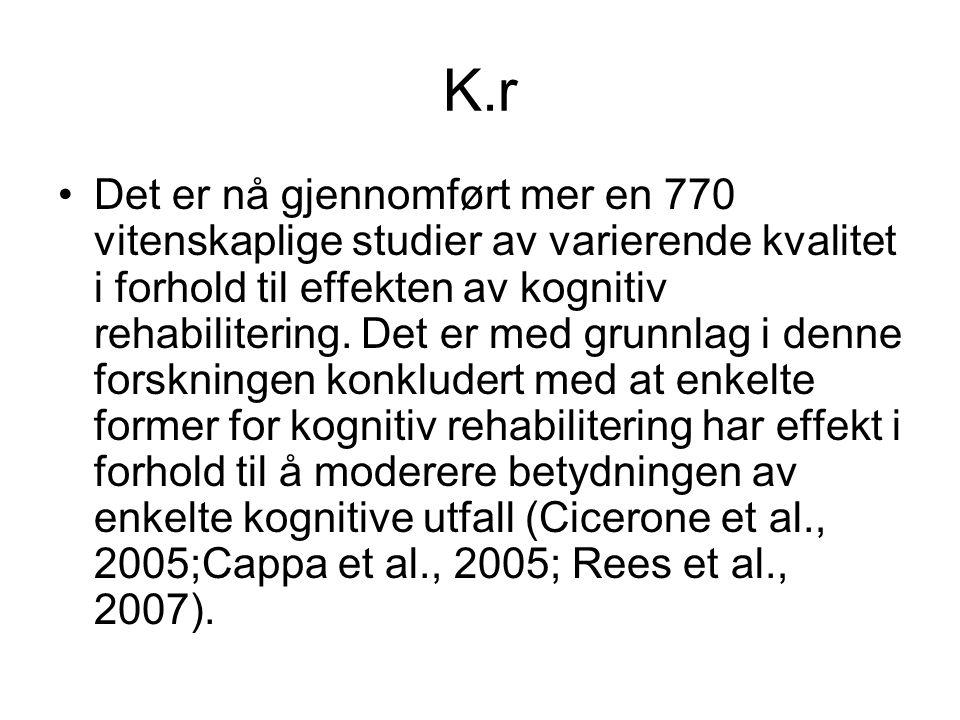 K.r Det er nå gjennomført mer en 770 vitenskaplige studier av varierende kvalitet i forhold til effekten av kognitiv rehabilitering.