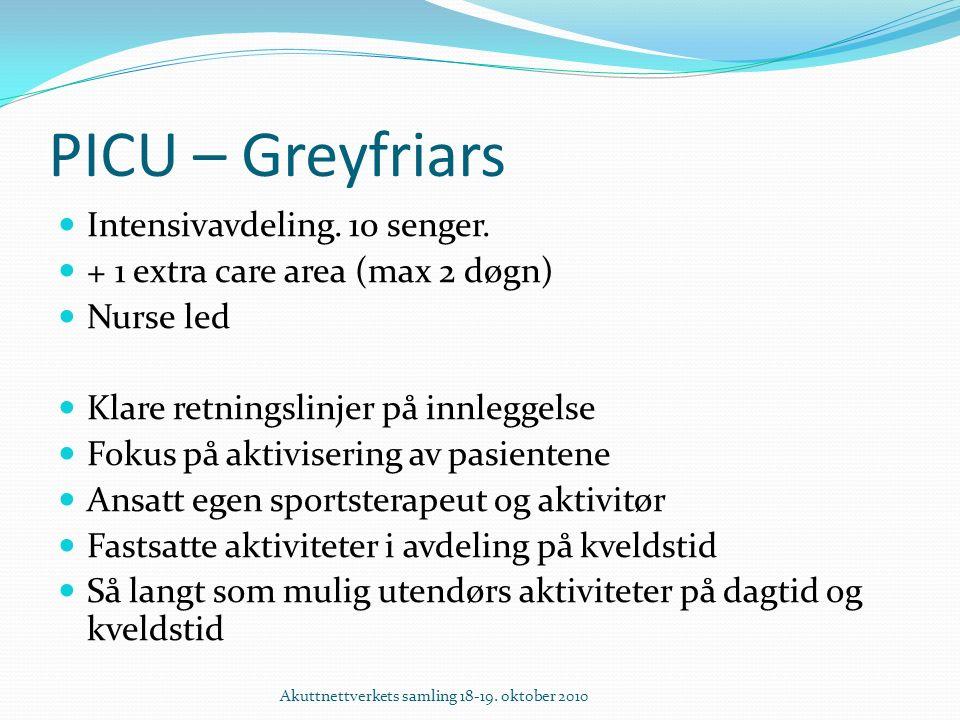 PICU – Greyfriars Intensivavdeling. 10 senger.