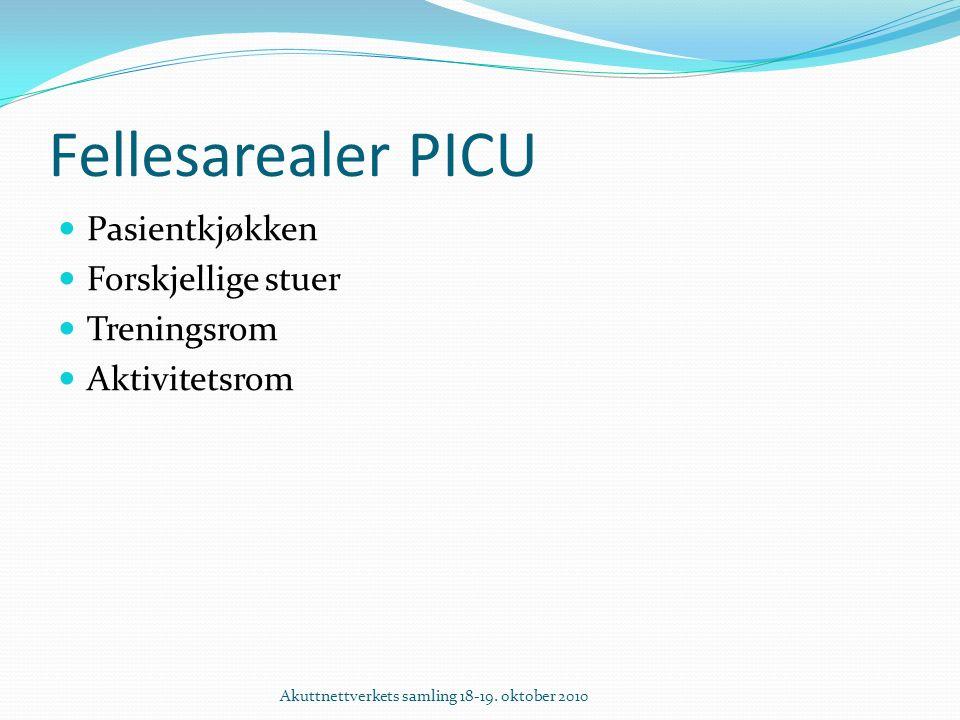 Fellesarealer PICU Pasientkjøkken Forskjellige stuer Treningsrom Aktivitetsrom Akuttnettverkets samling 18-19.