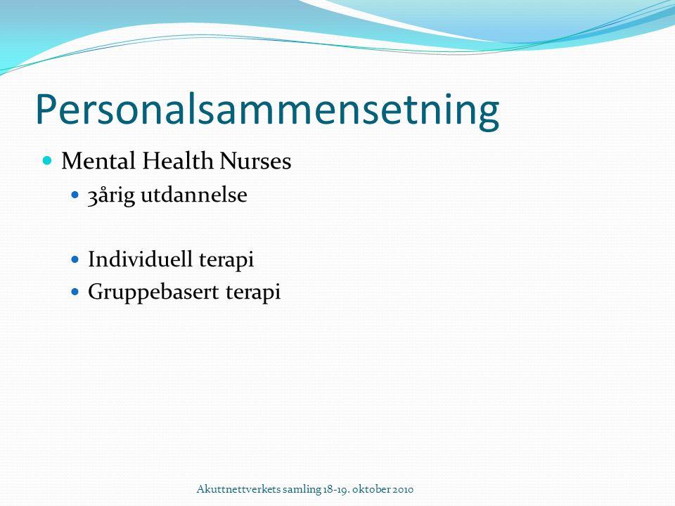 Personalsammensetning Mental Health Nurses 3årig utdannelse Individuell terapi Gruppebasert terapi Akuttnettverkets samling 18-19.