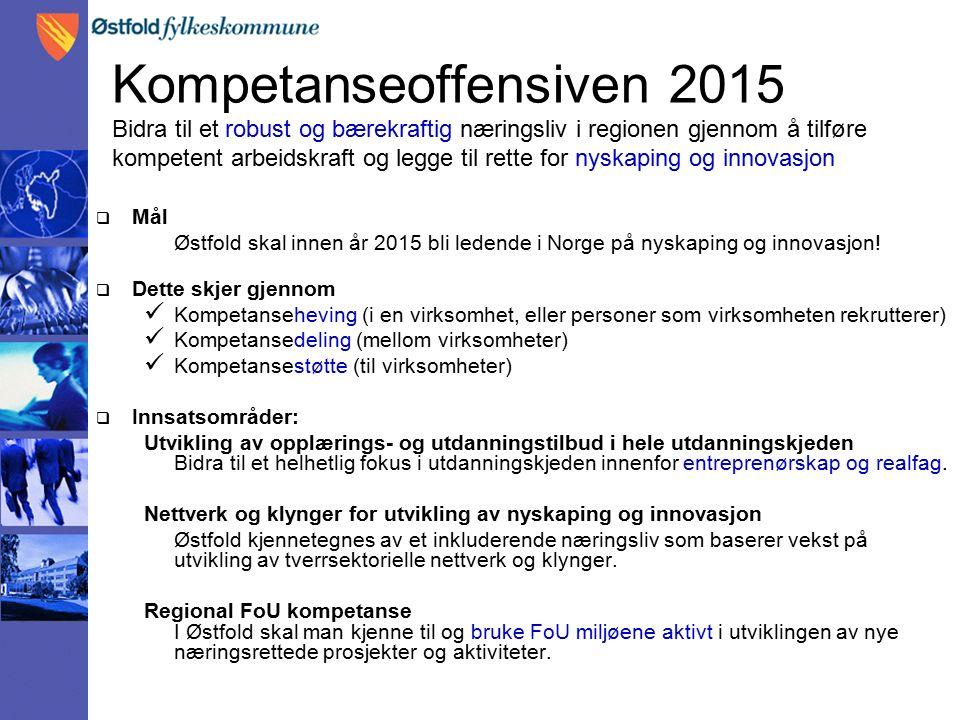 Kompetanseoffensiven 2015 Bidra til et robust og bærekraftig næringsliv i regionen gjennom å tilføre kompetent arbeidskraft og legge til rette for nyskaping og innovasjon  Mål Østfold skal innen år 2015 bli ledende i Norge på nyskaping og innovasjon.