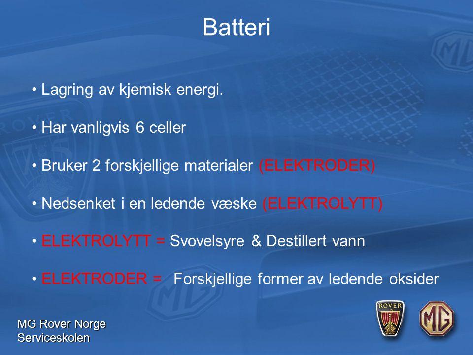 MG Rover Norge Serviceskolen Batteri Lagring av kjemisk energi.