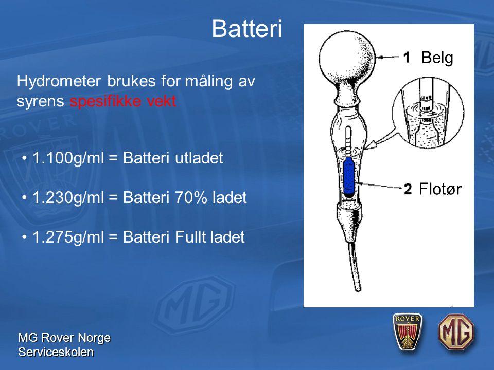 MG Rover Norge Serviceskolen Batteri Hydrometer brukes for måling av syrens spesifikke vekt 1.100g/ml = Batteri utladet 1.230g/ml = Batteri 70% ladet 1.275g/ml = Batteri Fullt ladet Flotør Belg