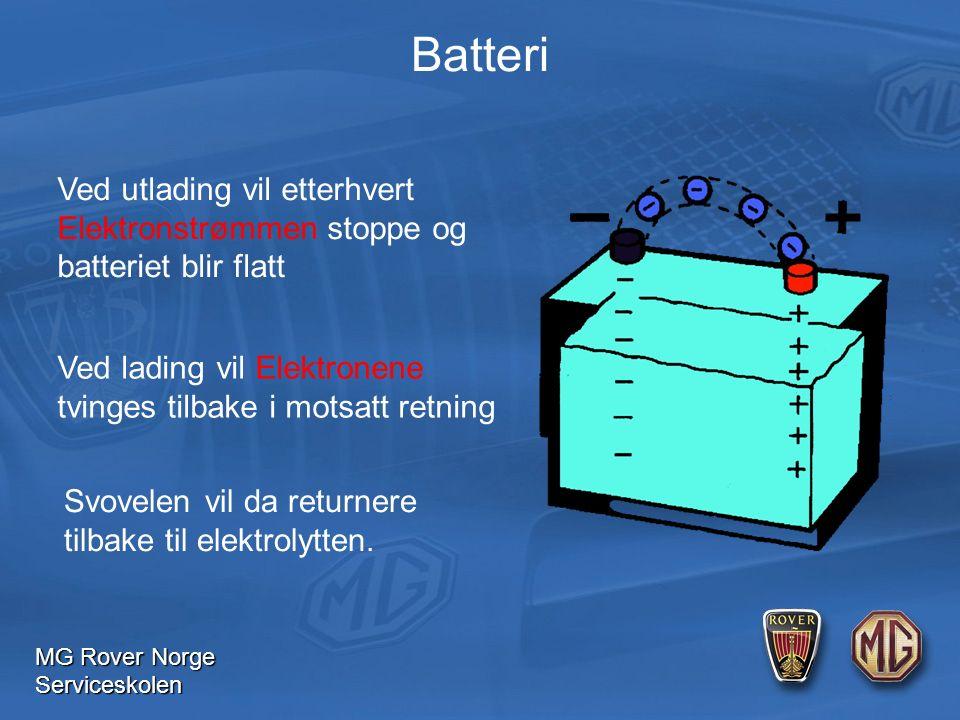 MG Rover Norge Serviceskolen Batteri Ved utlading vil etterhvert Elektronstrømmen stoppe og batteriet blir flatt Ved lading vil Elektronene tvinges tilbake i motsatt retning Svovelen vil da returnere tilbake til elektrolytten.
