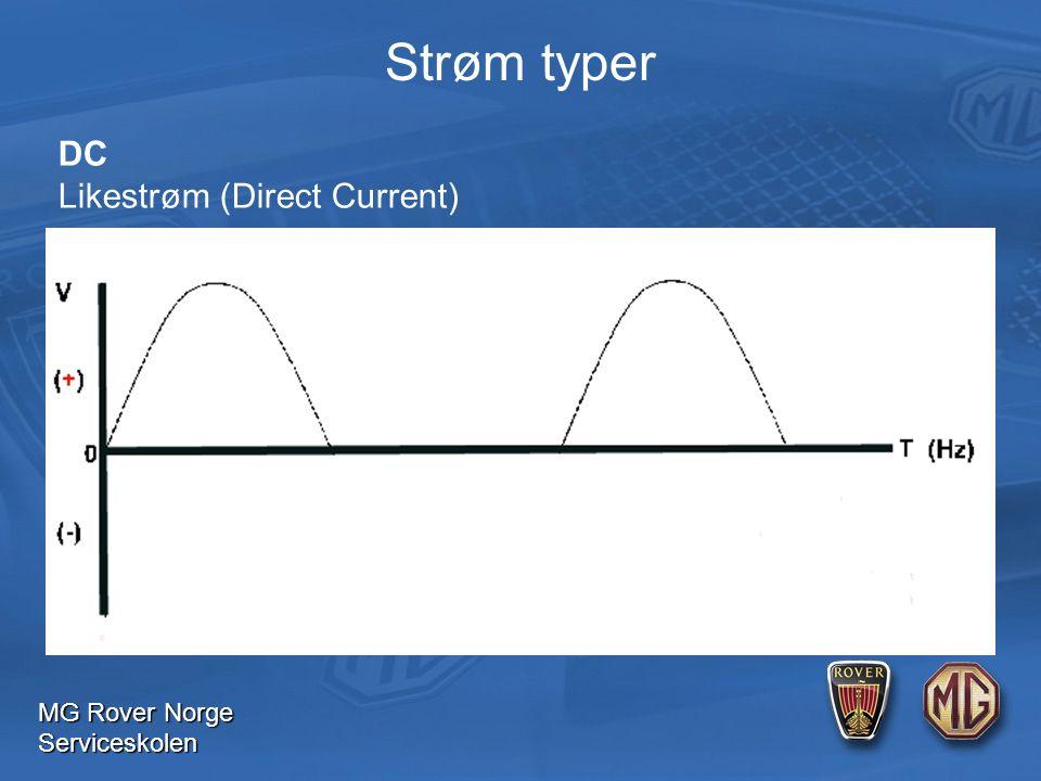 MG Rover Norge Serviceskolen DC Likestrøm (Direct Current) Strøm typer