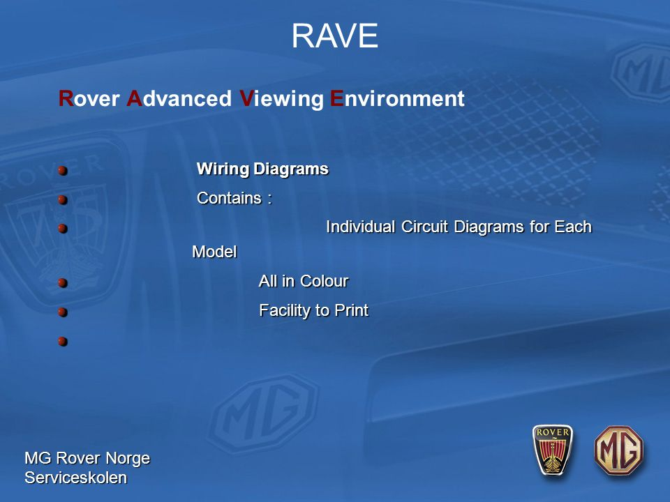 MG Rover Norge Serviceskolen RAVE Wiring Diagrams Wiring Diagrams Contains : Contains : Individual Circuit Diagrams for Each Model Individual Circuit Diagrams for Each Model All in Colour Facility to Print Rover Advanced Viewing Environment