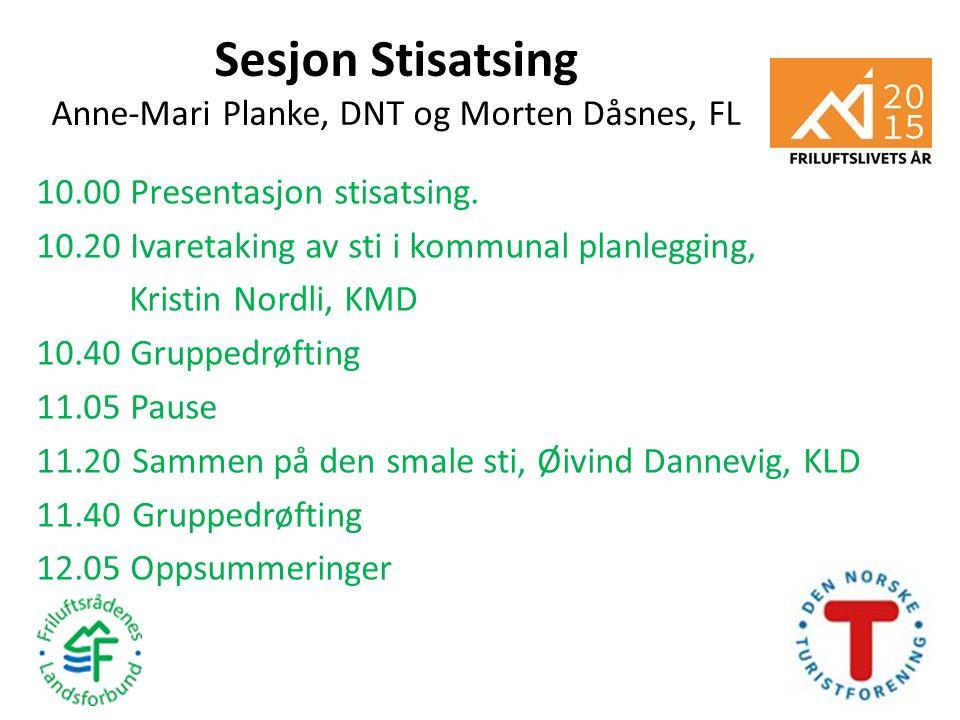 Sesjon Stisatsing Anne-Mari Planke, DNT og Morten Dåsnes, FL 10.00 Presentasjon stisatsing. 10.20 Ivaretaking av sti i kommunal planlegging, Kristin N
