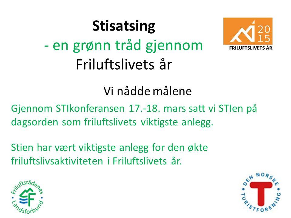 Stisatsing - en grønn tråd gjennom Friluftslivets år Vi nådde målene Gjennom STIkonferansen 17.-18. mars satt vi STIen på dagsorden som friluftslivets