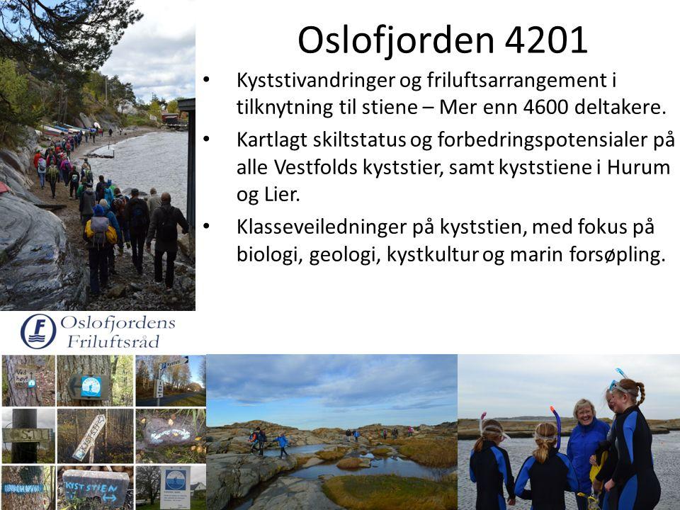 Oslofjorden 4201 Kyststivandringer og friluftsarrangement i tilknytning til stiene – Mer enn 4600 deltakere. Kartlagt skiltstatus og forbedringspotens