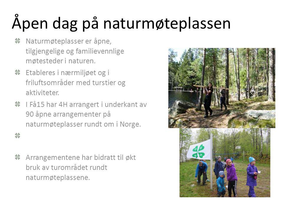 Åpen dag på naturmøteplassen Naturmøteplasser er åpne, tilgjengelige og familievennlige møtesteder i naturen. Etableres i nærmiljøet og i friluftsområ