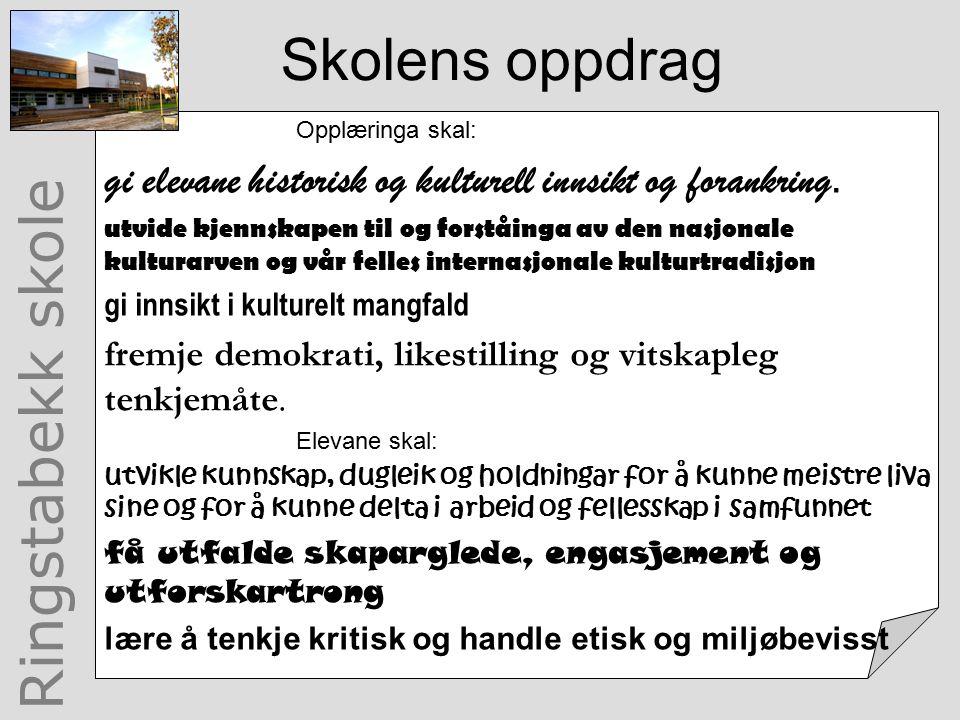 Ringstabekk skole Skolens oppdrag Opplæringa skal: gi elevane historisk og kulturell innsikt og forankring.
