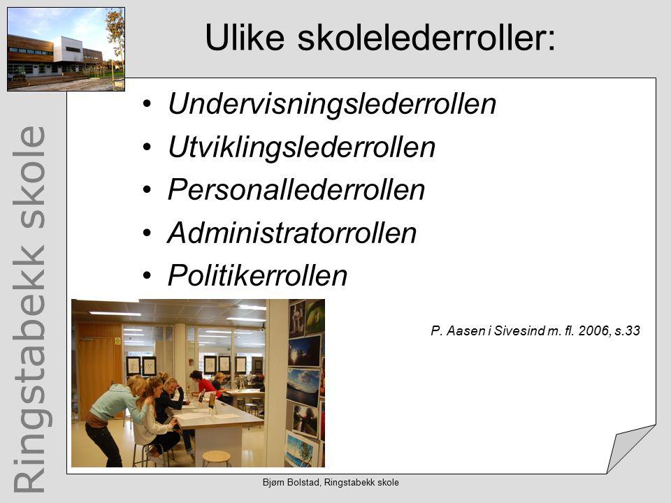 Ringstabekk skole Bjørn Bolstad, Ringstabekk skole Hva gjør egentlig skoleledere.