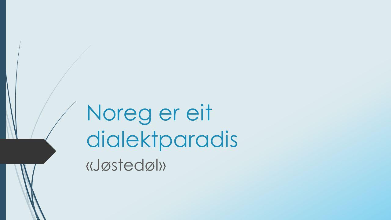 Noreg er eit dialektparadis «Jøstedøl»