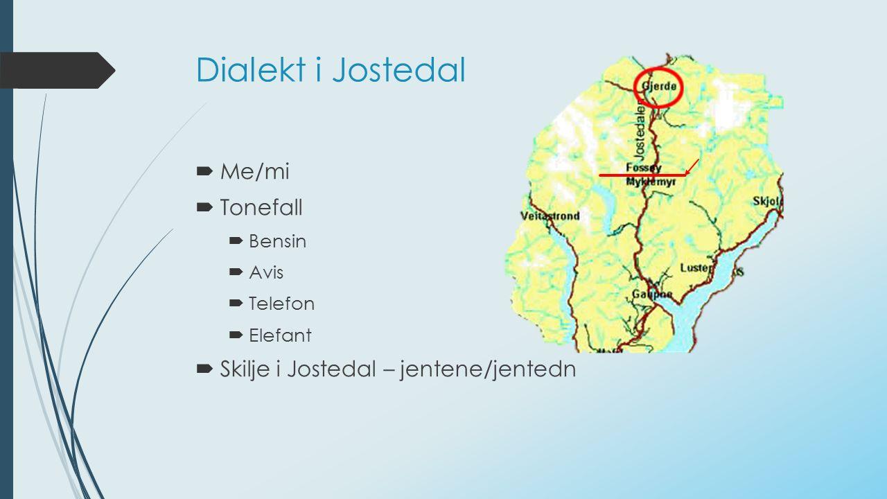Dialekt i Jostedal  Me/mi  Tonefall  Bensin  Avis  Telefon  Elefant  Skilje i Jostedal – jentene/jentedn