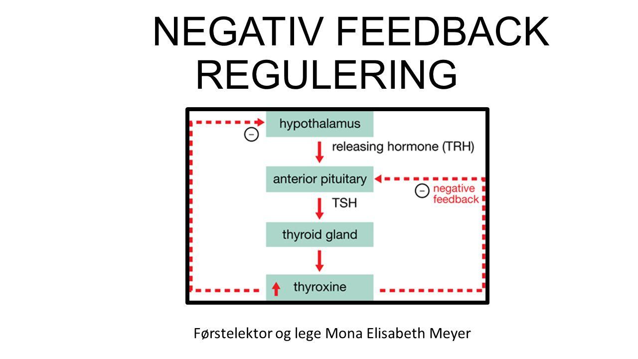 NEGATIV FEEDBACK REGULERING Førstelektor og lege Mona Elisabeth Meyer