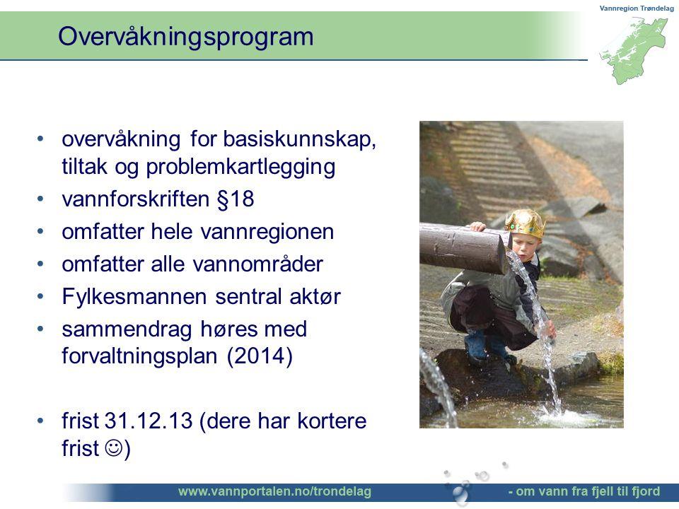Overvåkningsprogram overvåkning for basiskunnskap, tiltak og problemkartlegging vannforskriften §18 omfatter hele vannregionen omfatter alle vannområder Fylkesmannen sentral aktør sammendrag høres med forvaltningsplan (2014) frist 31.12.13 (dere har kortere frist )