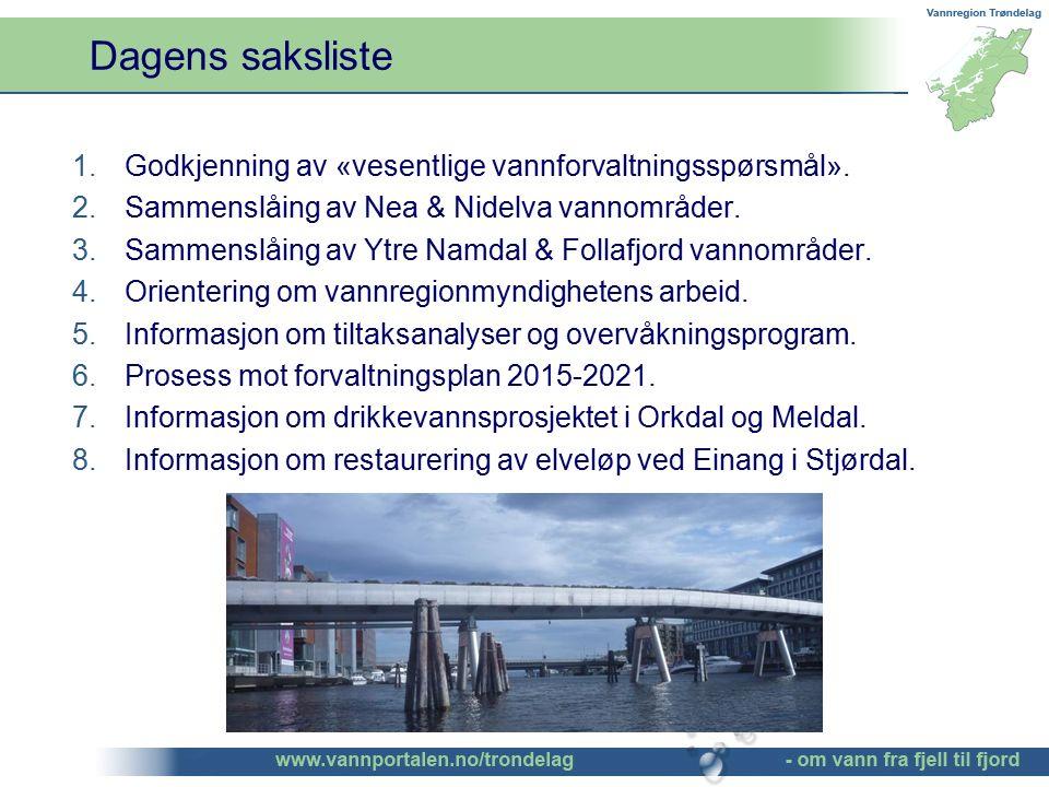 Dagens saksliste 1.Godkjenning av «vesentlige vannforvaltningsspørsmål». 2.Sammenslåing av Nea & Nidelva vannområder. 3.Sammenslåing av Ytre Namdal &