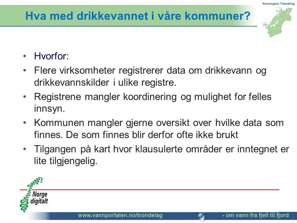 Hva med drikkevannet i våre kommuner? Hvorfor: Flere virksomheter registrerer data om drikkevann og drikkevannskilder i ulike registre. Registrene man