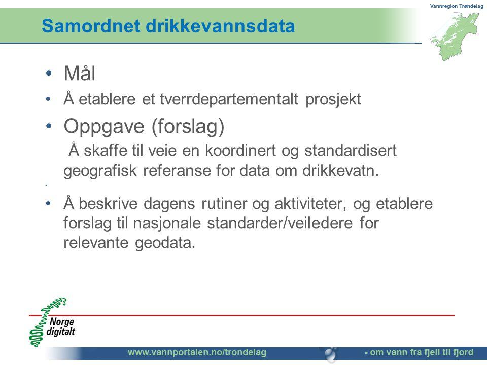 Samordnet drikkevannsdata Mål Å etablere et tverrdepartementalt prosjekt Oppgave (forslag) Å skaffe til veie en koordinert og standardisert geografisk referanse for data om drikkevatn.