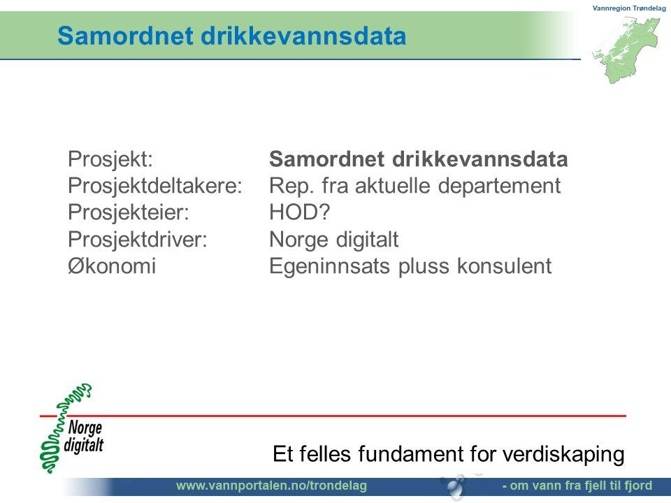 Samordnet drikkevannsdata Prosjekt: Samordnet drikkevannsdata Prosjektdeltakere: Rep. fra aktuelle departement Prosjekteier: HOD? Prosjektdriver: Norg