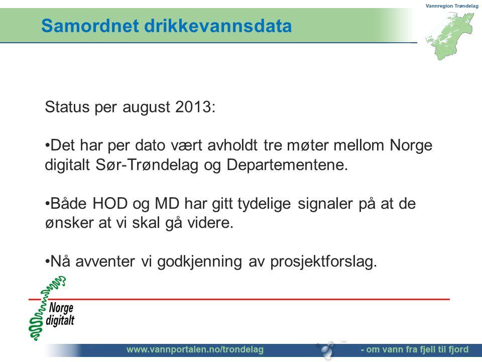 Samordnet drikkevannsdata Status per august 2013: Det har per dato vært avholdt tre møter mellom Norge digitalt Sør-Trøndelag og Departementene.