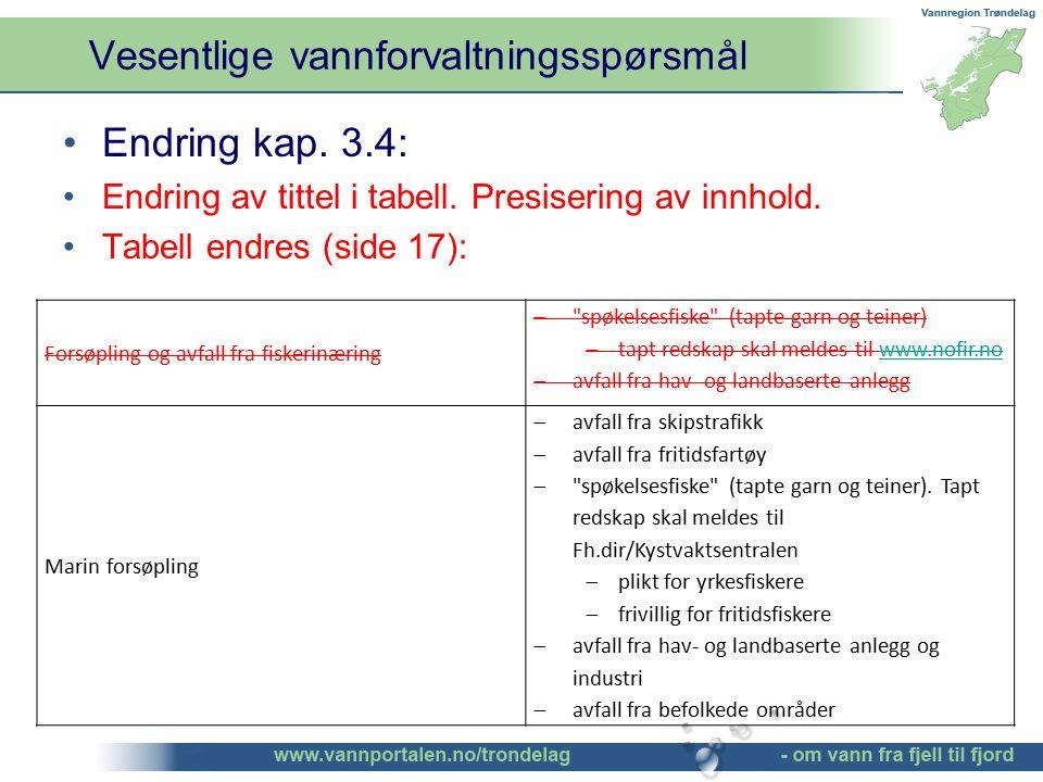 Vesentlige vannforvaltningsspørsmål ©Bendik Eithun Halgunset Endring kap. 3.4: Endring av tittel i tabell. Presisering av innhold. Tabell endres (side
