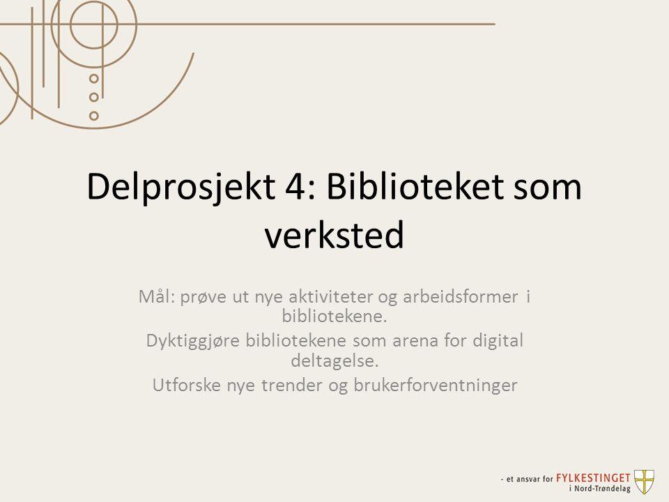Delprosjekt 4: Biblioteket som verksted Mål: prøve ut nye aktiviteter og arbeidsformer i bibliotekene. Dyktiggjøre bibliotekene som arena for digital