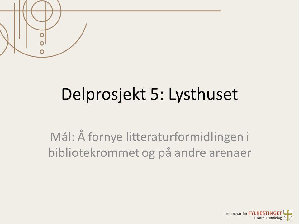 Delprosjekt 5: Lysthuset Mål: Å fornye litteraturformidlingen i bibliotekrommet og på andre arenaer