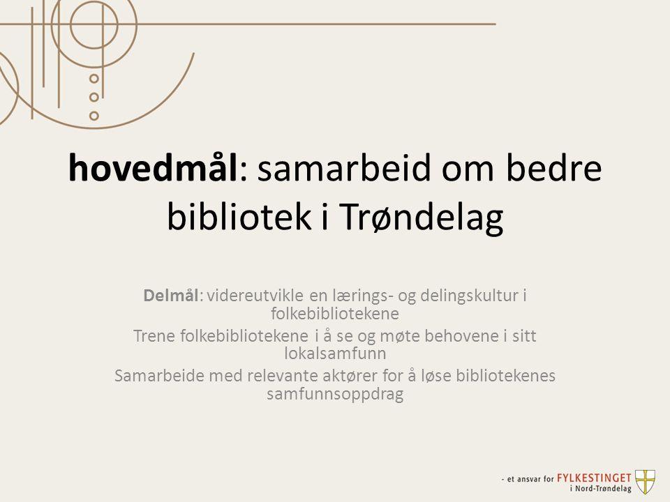 hovedmål: samarbeid om bedre bibliotek i Trøndelag Delmål: videreutvikle en lærings- og delingskultur i folkebibliotekene Trene folkebibliotekene i å