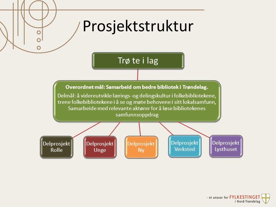 Prosjektstruktur Overordnet mål: Samarbeid om bedre bibliotek i Trøndelag. Delmål: å videreutvikle lærings- og delingskultur i folkebibliotekene, tren