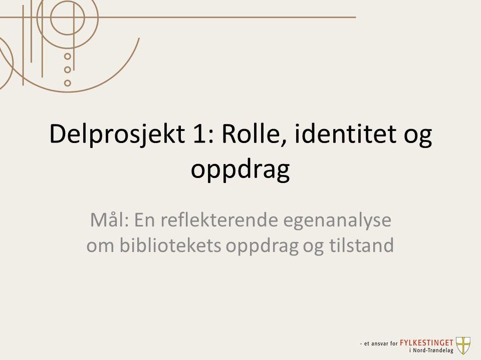 Delprosjekt 1: Rolle, identitet og oppdrag Mål: En reflekterende egenanalyse om bibliotekets oppdrag og tilstand