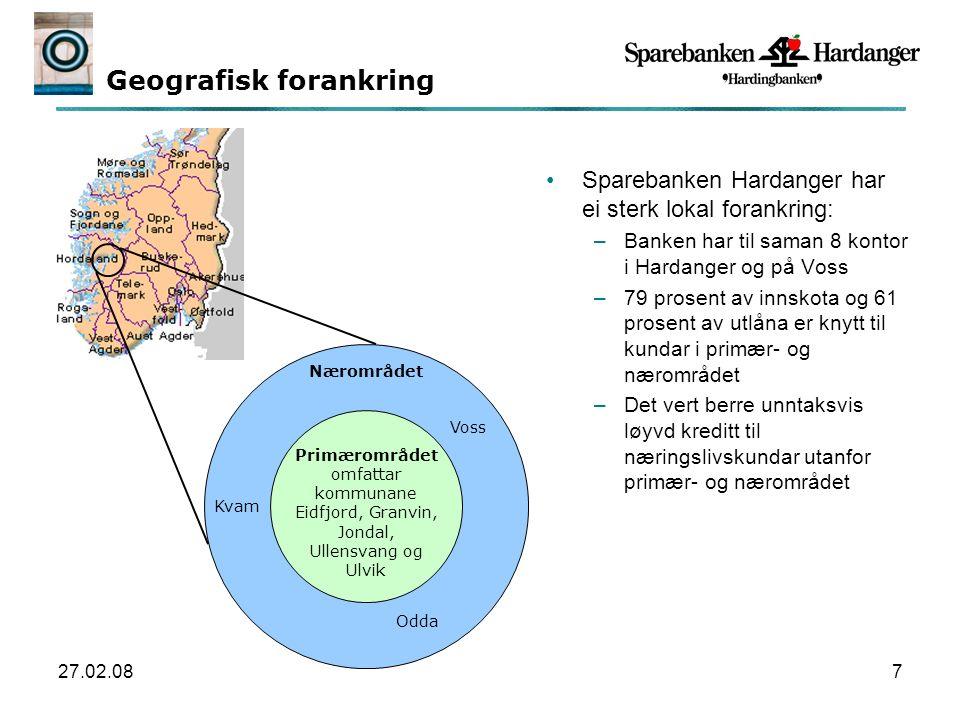 27.02.087 Geografisk forankring Sparebanken Hardanger har ei sterk lokal forankring: –Banken har til saman 8 kontor i Hardanger og på Voss –79 prosent av innskota og 61 prosent av utlåna er knytt til kundar i primær- og nærområdet –Det vert berre unntaksvis løyvd kreditt til næringslivskundar utanfor primær- og nærområdet Primærområdet omfattar kommunane Eidfjord, Granvin, Jondal, Ullensvang og Ulvik Nærområdet Voss Odda Kvam