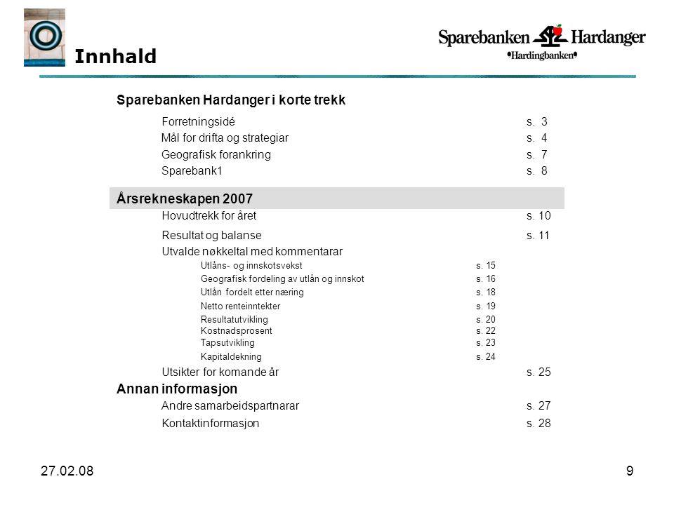 27.02.0810 Sparebanken Hardanger oppn å dde eit resultat f ø r skatt p å 24,3 mill kr i 2007, som er ein nedgang p å 27,2% fr å å ret f ø r.