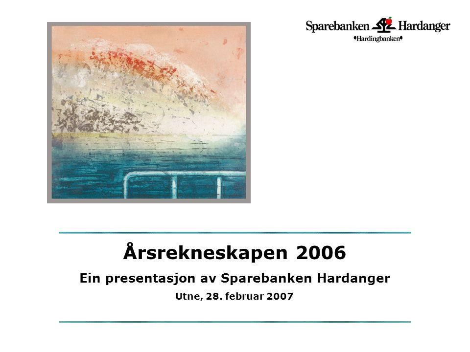 Årsrekneskapen 2006 Ein presentasjon av Sparebanken Hardanger Utne, 28. februar 2007