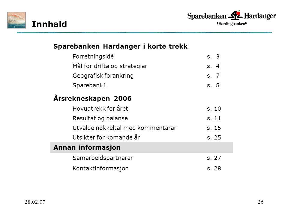 28.02.0726 Innhald Sparebanken Hardanger i korte trekk Forretningsidés.