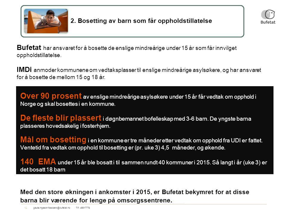 12gaute.ingeson.fossbakk@bufetat.no Tlf: 46617779 Over 90 prosent av enslige mindreårige asylsøkere under 15 år får vedtak om opphold i Norge og skal bosettes i en kommune.