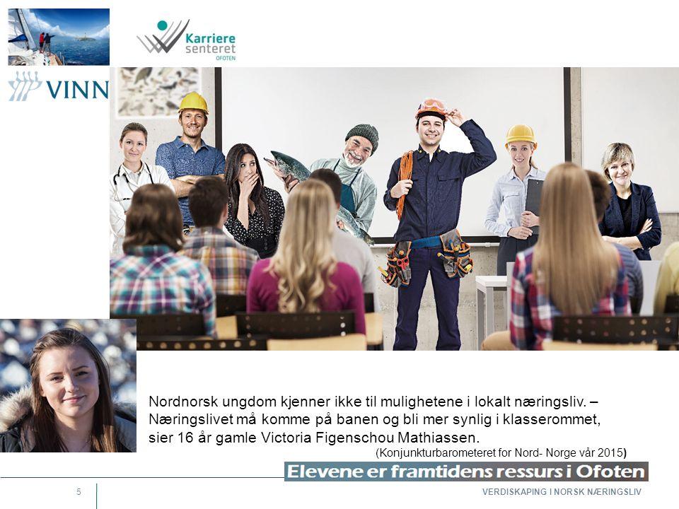 VERDISKAPING I NORSK NÆRINGSLIV 5 Nordnorsk ungdom kjenner ikke til mulighetene i lokalt næringsliv. – Næringslivet må komme på banen og bli mer synli