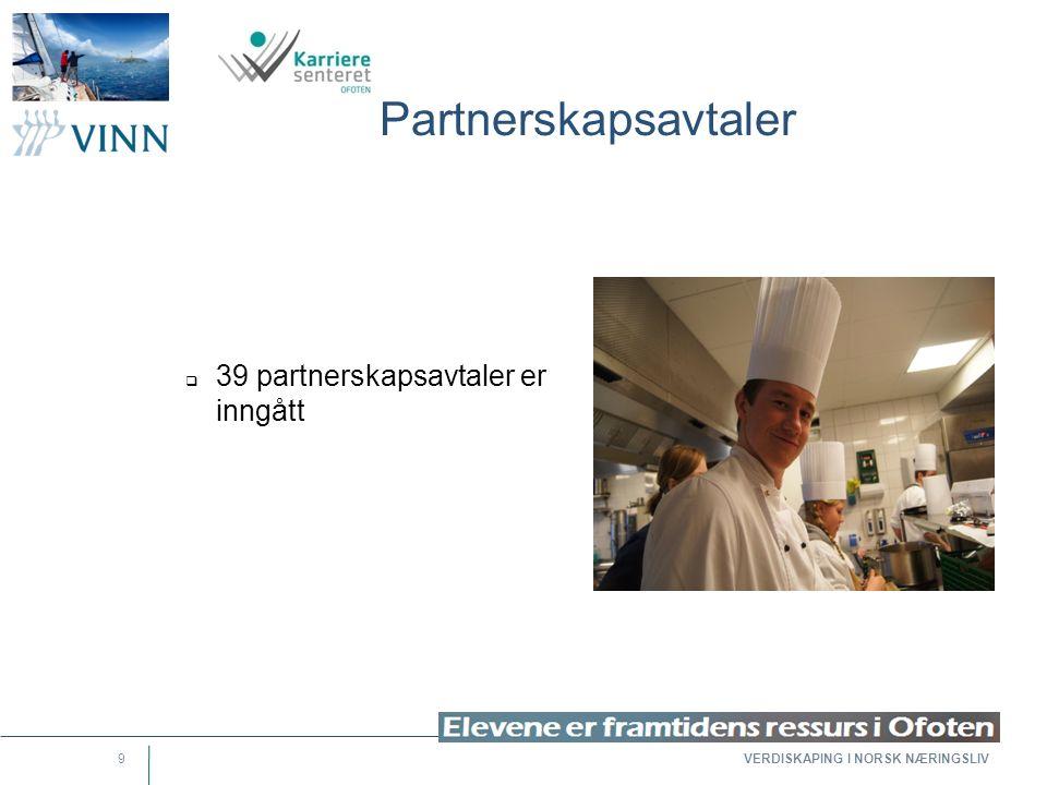 VERDISKAPING I NORSK NÆRINGSLIV 9 Partnerskapsavtaler  39 partnerskapsavtaler er inngått