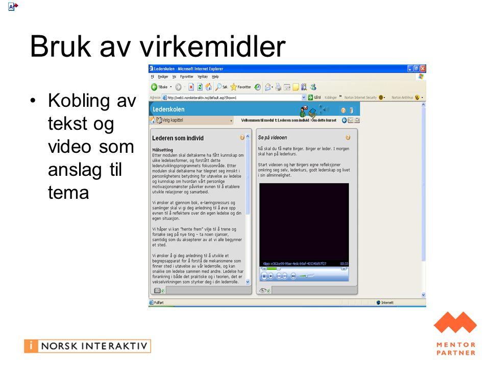 Bruk av virkemidler Kobling av tekst og video som anslag til tema