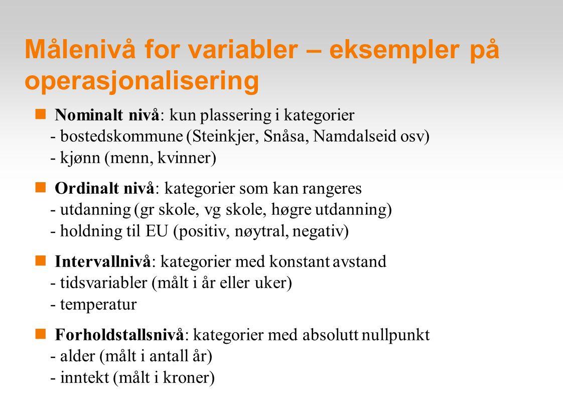 Målenivå for variabler: oversikt Vurderingskriterier: Lik stor Kategorier Gjensidig Rangering avstand har et utelukkende av mellom absolutt kategorier kategorier kategorier nullpunkt Nominalt nivå: X Ordinalt nivå: X X Intervallnivå: X X X Forholdstallsnivå X X X X Diskrete variabler (nominalt og ordinalt nivå) (kategori-variabler) Kontinuerlige variabler (intervall og forholdstallsnivå)