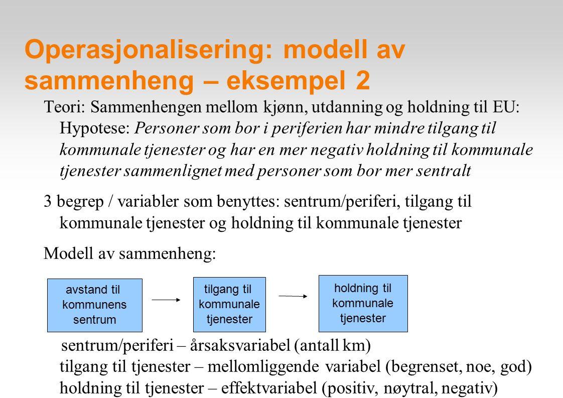 Operasjonalisering: modell av sammenheng – eksempel 3 Teori: Sammenhengen mellom land, kjønn, og tillit til politiet: Hypotese: Kvinner i Norge har mer tillit til politiet enn andre grupper i Norge og Portugal 3 begrep / variabler som benyttes: land, kjønn og tillit til politiet Modell av sammenheng: land – årsaksvariabel (Norge vs.