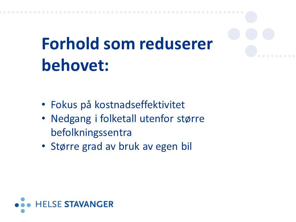 Forhold som reduserer behovet: Fokus på kostnadseffektivitet Nedgang i folketall utenfor større befolkningssentra Større grad av bruk av egen bil