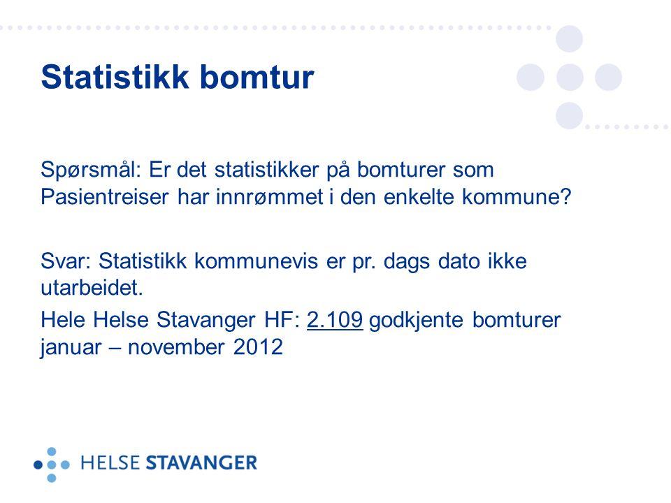 Spørsmål: Er det statistikker på bomturer som Pasientreiser har innrømmet i den enkelte kommune.