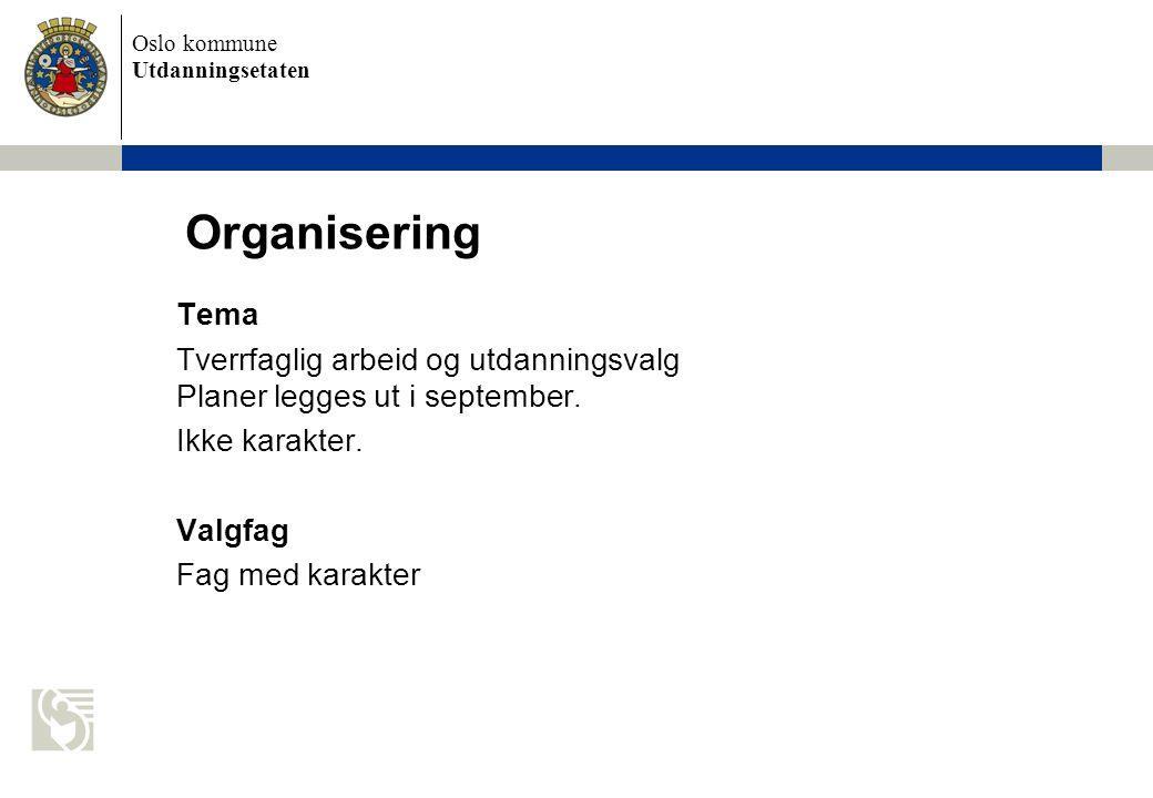 Oslo kommune Utdanningsetaten Organisering Tema Tverrfaglig arbeid og utdanningsvalg Planer legges ut i september.