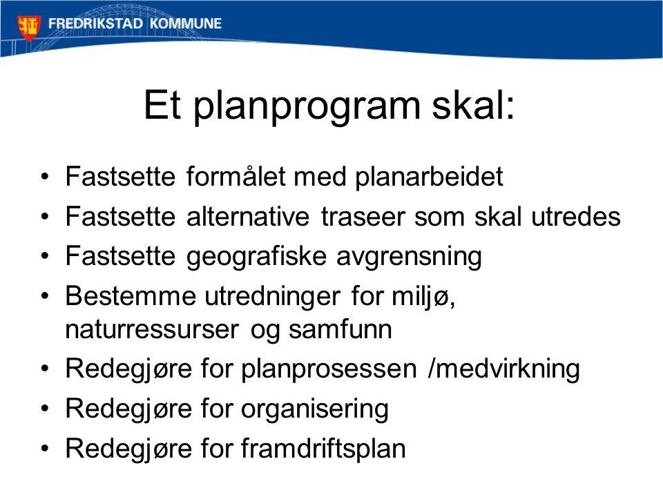 Et planprogram skal: Fastsette formålet med planarbeidet Fastsette alternative traseer som skal utredes Fastsette geografiske avgrensning Bestemme utredninger for miljø, naturressurser og samfunn Redegjøre for planprosessen /medvirkning Redegjøre for organisering Redegjøre for framdriftsplan
