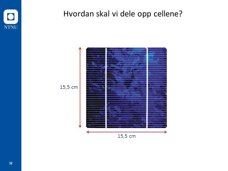 32 Hvordan skal vi dele opp cellene? 15,5 cm