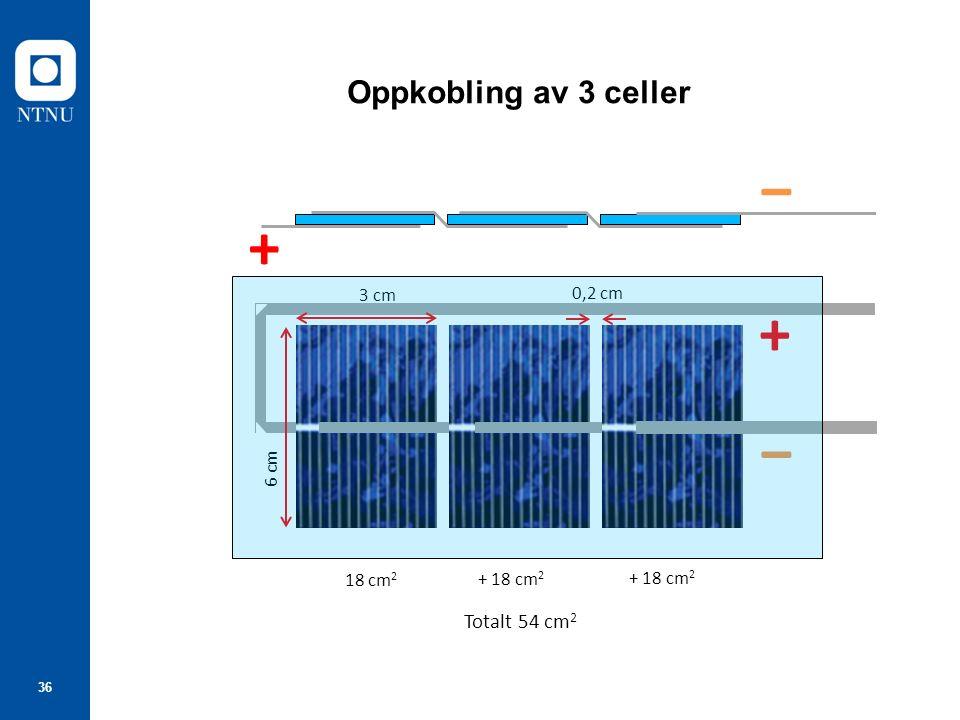 36 Oppkobling av 3 celler 3 cm 6 cm 0,2 cm + ‒ ‒ + 18 cm 2 + 18 cm 2 Totalt 54 cm 2