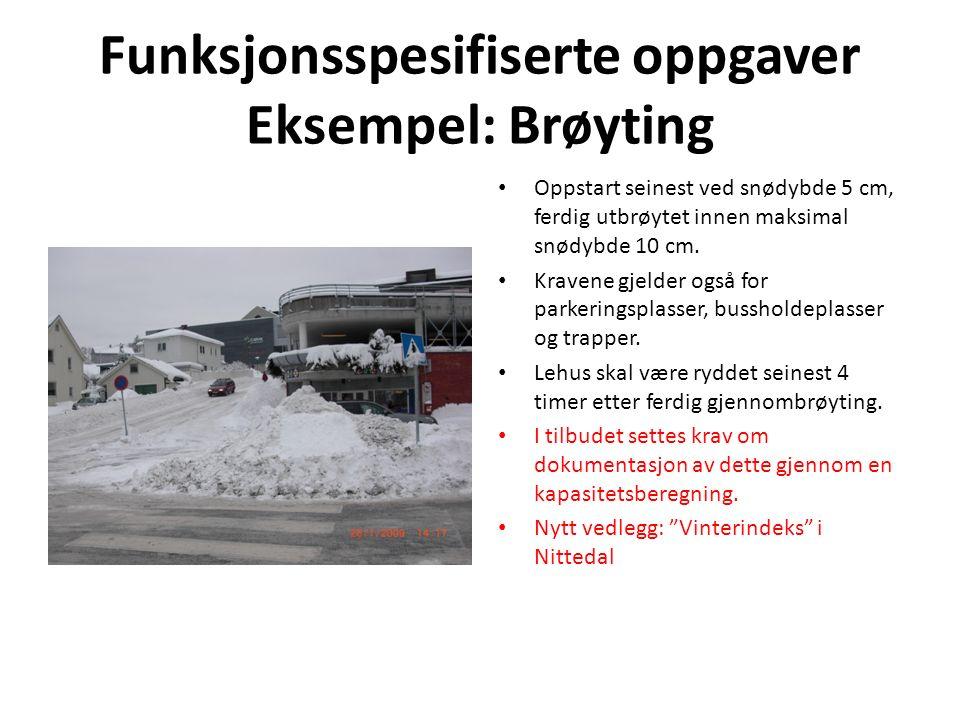 Funksjonsspesifiserte oppgaver Eksempel: Brøyting Oppstart seinest ved snødybde 5 cm, ferdig utbrøytet innen maksimal snødybde 10 cm.
